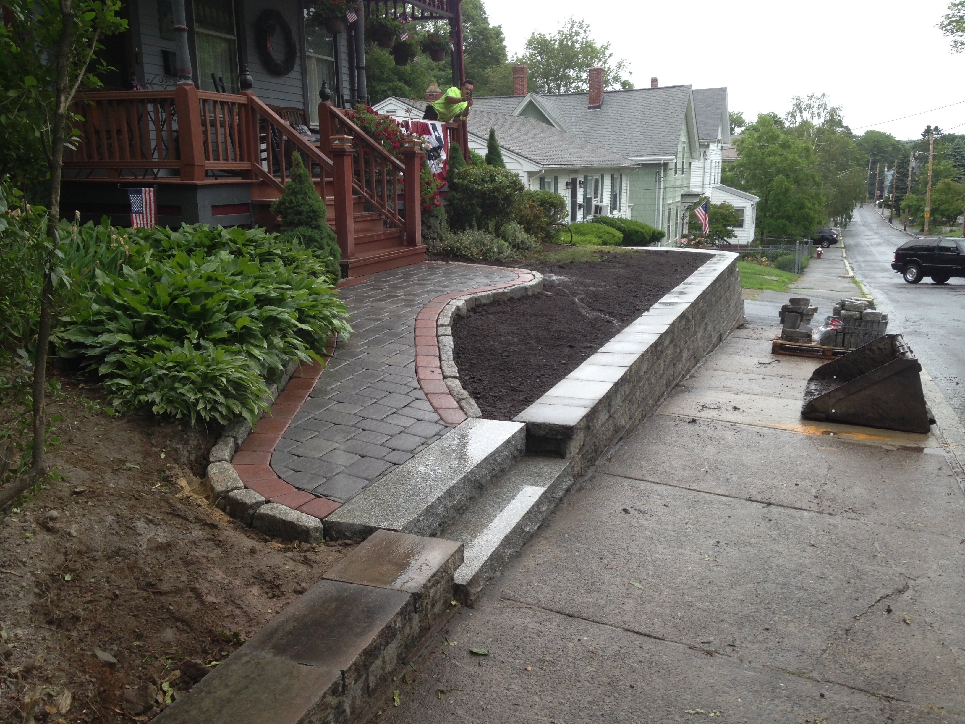 Retainer Wall, Granite Steps & Cobblestone Lined Walkway