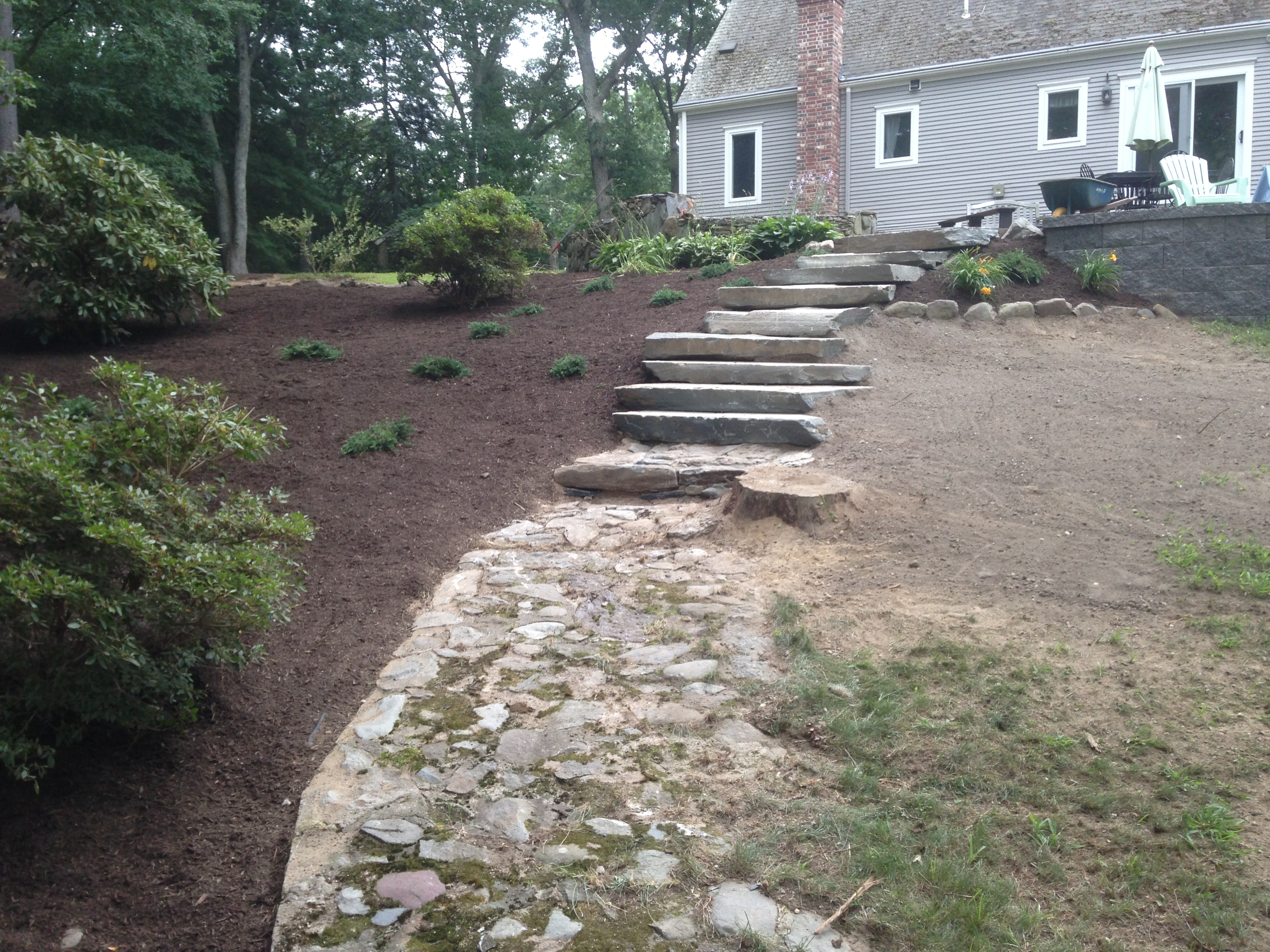 Planted Mulch Bed & Stairs