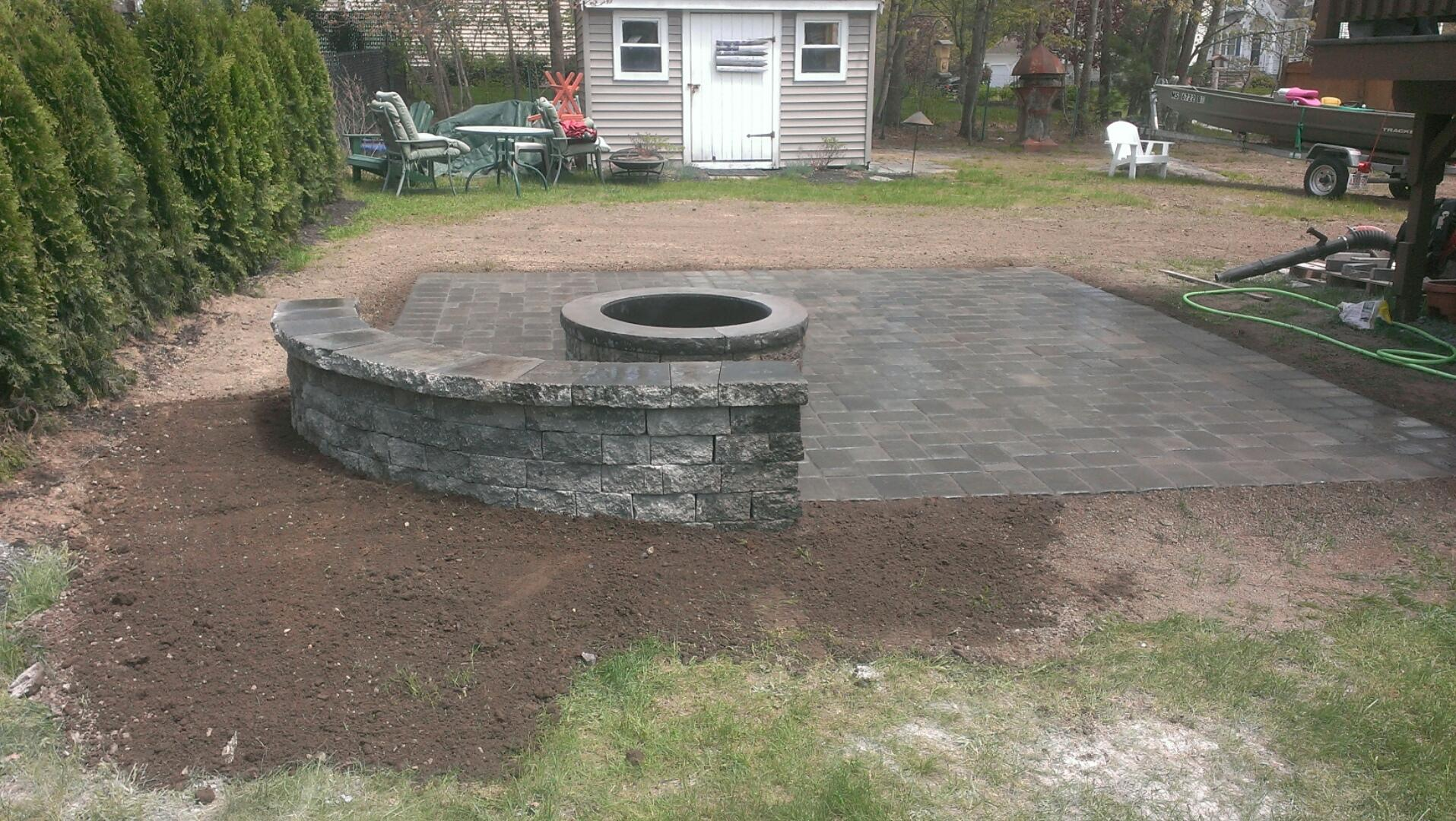 Patio, Firepit & Wall